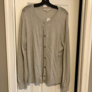 LOFT button up cardigan with blouson sleeves